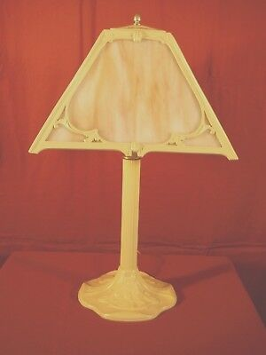 1930s ART & CRAFTS MISSION TABLE LAMP W/ SLAG GLASS SHADE