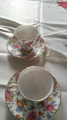 Vintage Antique Cups Saucers German Japan England Gold Embossed Hand Painted