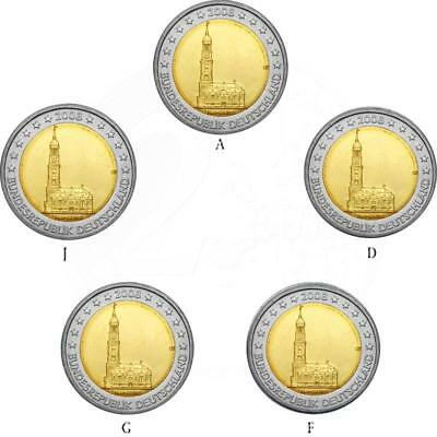 Deutschland 5 x 2 Euro Gedenkmünze 2008 ST Hamburger Michel lose