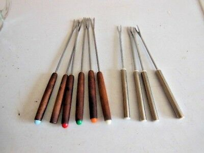 Bundle Of Fondue Forks- Set Of 6 Matching Wood Handled  + Set Of 4 Stainless