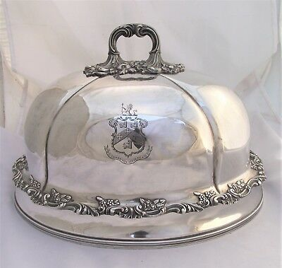 """Superb Sheffield Plate Meat Dome """"remembrance James Stringer 1854"""" Coat Of Arms."""