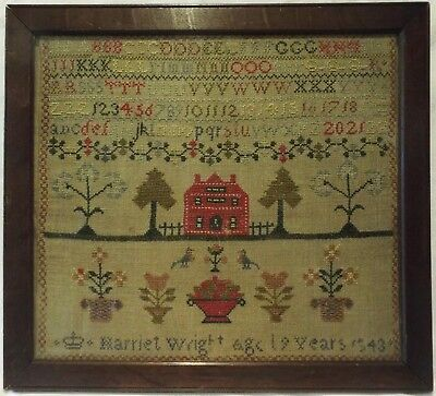 Early/mid 19Th Century Red House & Motif Sampler By Harriet Wright Aged 9 - 1843