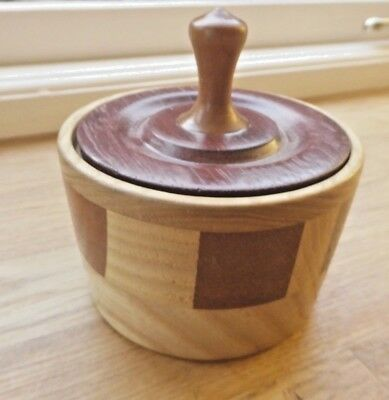 Vintage treen lidded different mixture of woods pot /box turned
