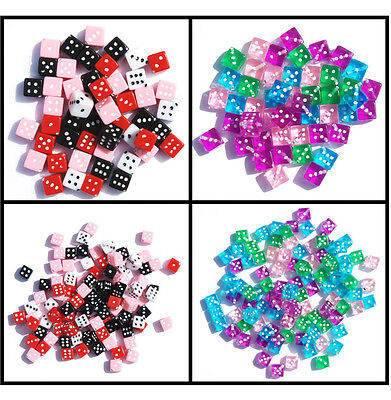 Acrylic Dice Beads Lot Assorted Colors & Sizes Craft Jewelry Transparent Opaque
