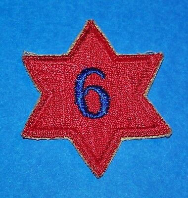 ORIGINAL CUT-EDGE WW2 6th INFANTRY DIVISION PATCH, BLUE 6 VARIATION