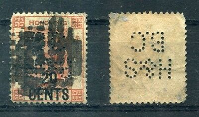 p225 - HONG KONG QV HSBC PERFIN on 20 CENTS Surcharge Stamp