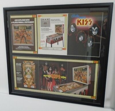 Bally Kiss Pinball 3 page Custom Framed and matted Flyer