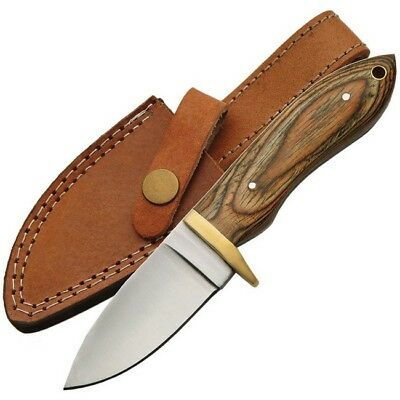 Unbranded 203357-WD Brown Pakkawood Handle Hunter Fixed Blade Knife Drop Point
