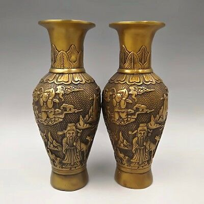 Chinese Antique Brass carved fairy figures vase a pair