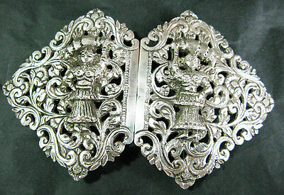 Large Silver C.1900 Oriental 2 Piece Buckle With 2 Ladies 76Gms