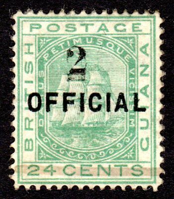 British Guiana 1881 Surch 2c on 24c Emerald Green (Surch Double) SG157b LM/Mint
