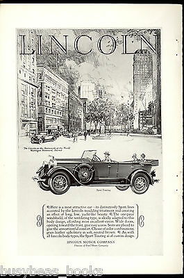 1927 LINCOLN advertisement, Lincoln Sport Touring, Washington Blvd, Detroit