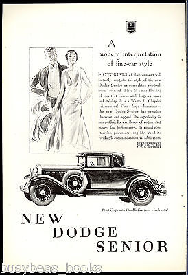 1929 DODGE SENIOR advertisement, Vintage Dodge Coupe