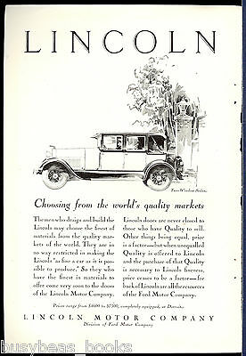 1928 LINCOLN advertisement, Lincoln Two Window Sedan,big vintage automobile