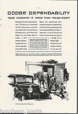 1930 Dodge Brothers advertisement, horseshoeing, go cart repair