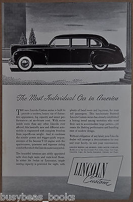 1941 LINCOLN-CUSTOM advertisement, Ford Motor Co. big Lincoln sedan