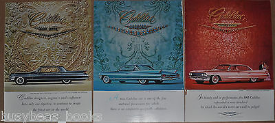 1961 CADILLAC advertisements x3, Cadillac De Ville sedan, coupe, jewels, fabric