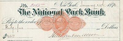 1874 The National Park Bank, New York