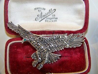 Vintage Signed Jewelery Sterling Silver Marcasite Soaring Eagle Bird Brooch Pin
