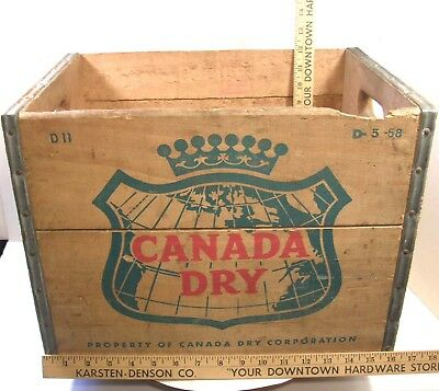 Vintage 1958 Canada Dry Advertising Wooden Crate Box Sturdy Cool Storage