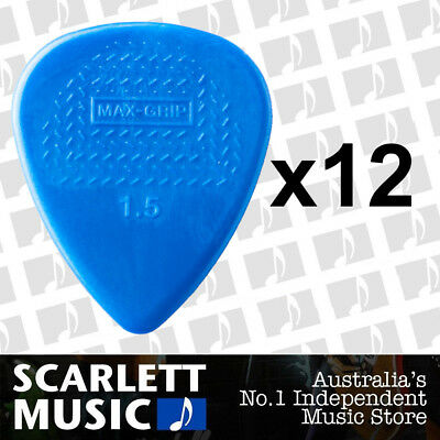 12 X Jim Dunlop Max Grip Nylon 1.50mm Gauge Blue Guitar Picks *NEW*