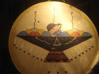 vintage NATIVE AMERICAN INDIAN Drum Hand Painted Tribal Spiritual THUNDERBIRD