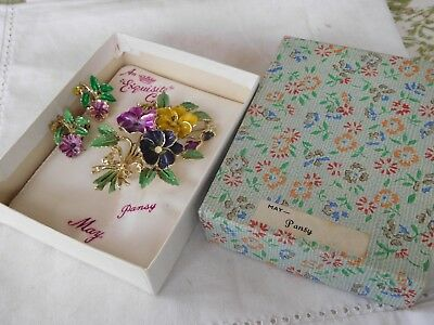 Vintage 1950s Birthday Series PANSY May Brooch & Clip On Earrings box EXQUISITE
