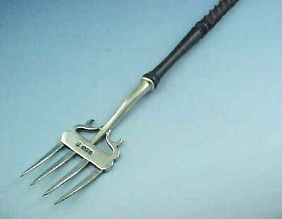 "18"" Long Sterling Silver Toasting Fork Barley Twist Handle Nathan & Hayes 1902"