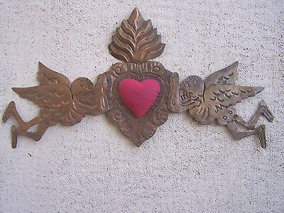 Tin Day of the Dead 3D Door Ornament with Angels RED Sacred Heart, Brown Patina
