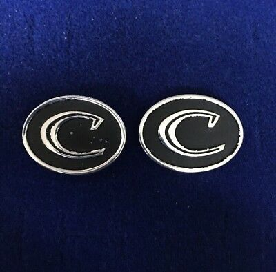 Vintage Men's Initial C Silver Tone Black  Cufflinks Jewelry BX-A