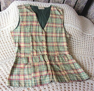 Vintage long line cotton waistcoat by DOROTHY PERKINS Size 12 Multi checked