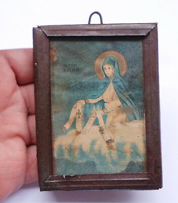Cincture of Theotokos Antique Greek Orthodox Print Icon on Wood Framed + Glass