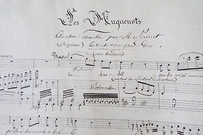Beautifully Handwritten Sepia Ink Antique French Music Score Book Dated 1835