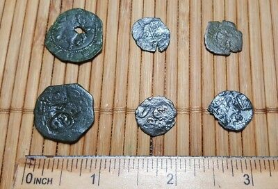 Authentic Ancient Spanish Pirate Copper Maravedis Cob Coins Set of 6
