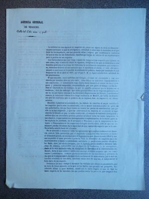 Documento Año 1860 Madrid Agencia General De Negocios Condiciones Y Tarifas