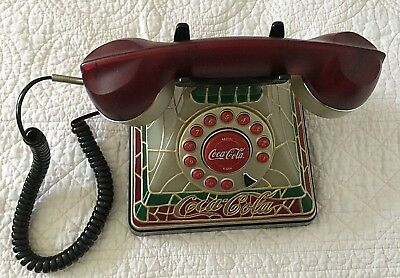 VINTAGE Coca-Cola Old Fashion Stained Glass Design Corded Home Telephone
