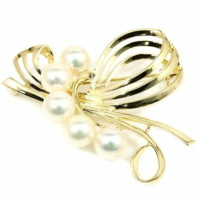100% Authentic Mikimoto 14K Yellow Gold Enhanced Pearls Pin Brooch R46