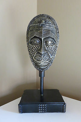 AFRICAN MASK ON STAND RESIN NEW 10.5 in. Metal Antique Bronze New