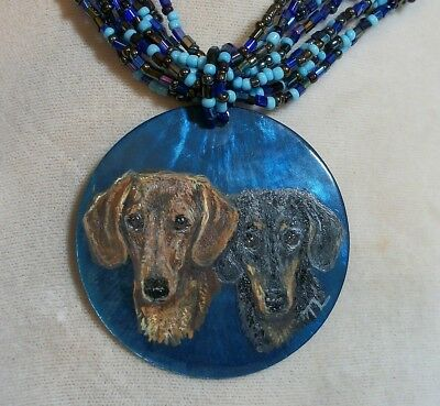 Hand Painted Dachshund Doxie bead and shell Necklace Pendant
