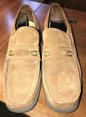 Vintage Hush Puppies Brown Suede Leather Buckle Shoes Disco Loafers Mens Sz 11N