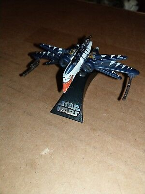 Star Wars Titanium Micro Machines Rare Tiger Shark Painted ARC-170 With Stand