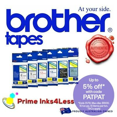2x Brother TZ231 TZe-231 Genuine 12mm Black on White 8 meter Tape PT1230 PT1880