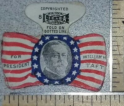 1908 William H. Taft Bow-tie Shaped Picture Paper Campaign Tab