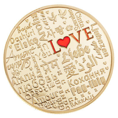 Gold Commemorative Coin LOVE Different National Languages Travel Collections