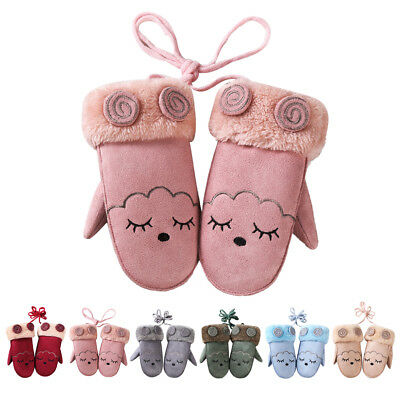 Toddler Kids Soft Suede Gloves Baby Boy Girl Cute Mitten Winter Warmer Fur Glove