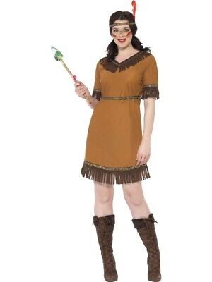 Indian Squaw Ladies Fancy Dress Native American Red Indian Western Costume 6-22