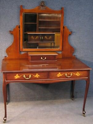 Edwardian Marquetry Inlaid Mahogany Mirrored Dressing Table