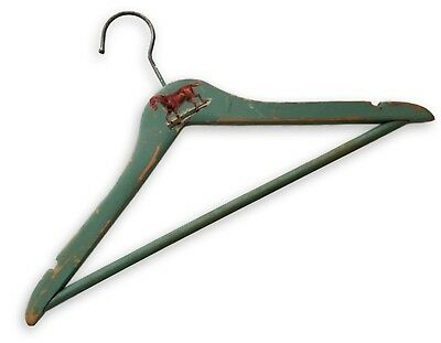 Vintage 1950 Childrens Wooden Hanger with Horse Decal Old with Green Paint