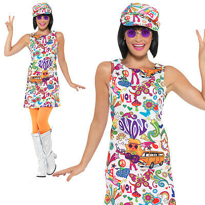 b0c4bbcbf3d6 60s Groovy Chick Costume Hippy Hippie Adult Womens Ladies Fancy Dress Outfit