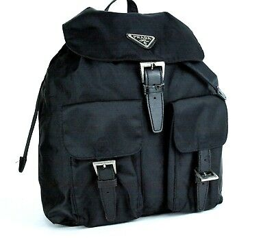 61177c7c4ea229 Auth PRADA Milano Logo Black Nylon & Leather Backpack Bag Shoulder Bag Italy
